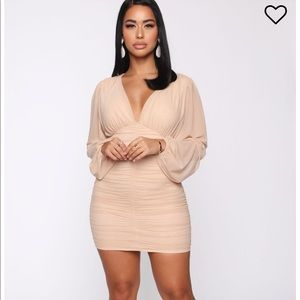 Fashion Nova Just Like Me Mesh Ruched Mini Dress